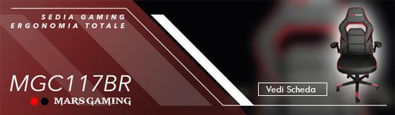 Sedia gaming Mars Gaming MGC117BR colorazione nero rosso [MGC117BR]